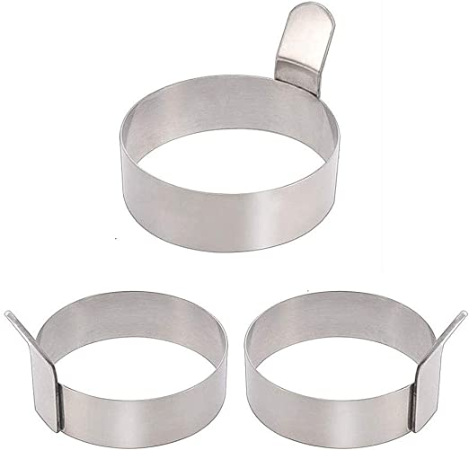 Colorsheng Egg Ring,3 Inch Stainless Steel Omelet Mold Pancake Ring Metal Kitchen Cooking Tool 3 Pack