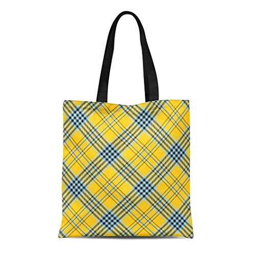 Semtomn Canvas Tote Bag Tartan Plaid Pattern Checkered in Blue Black Stripes Durable Reusable Shopping Shoulder Grocery Bag