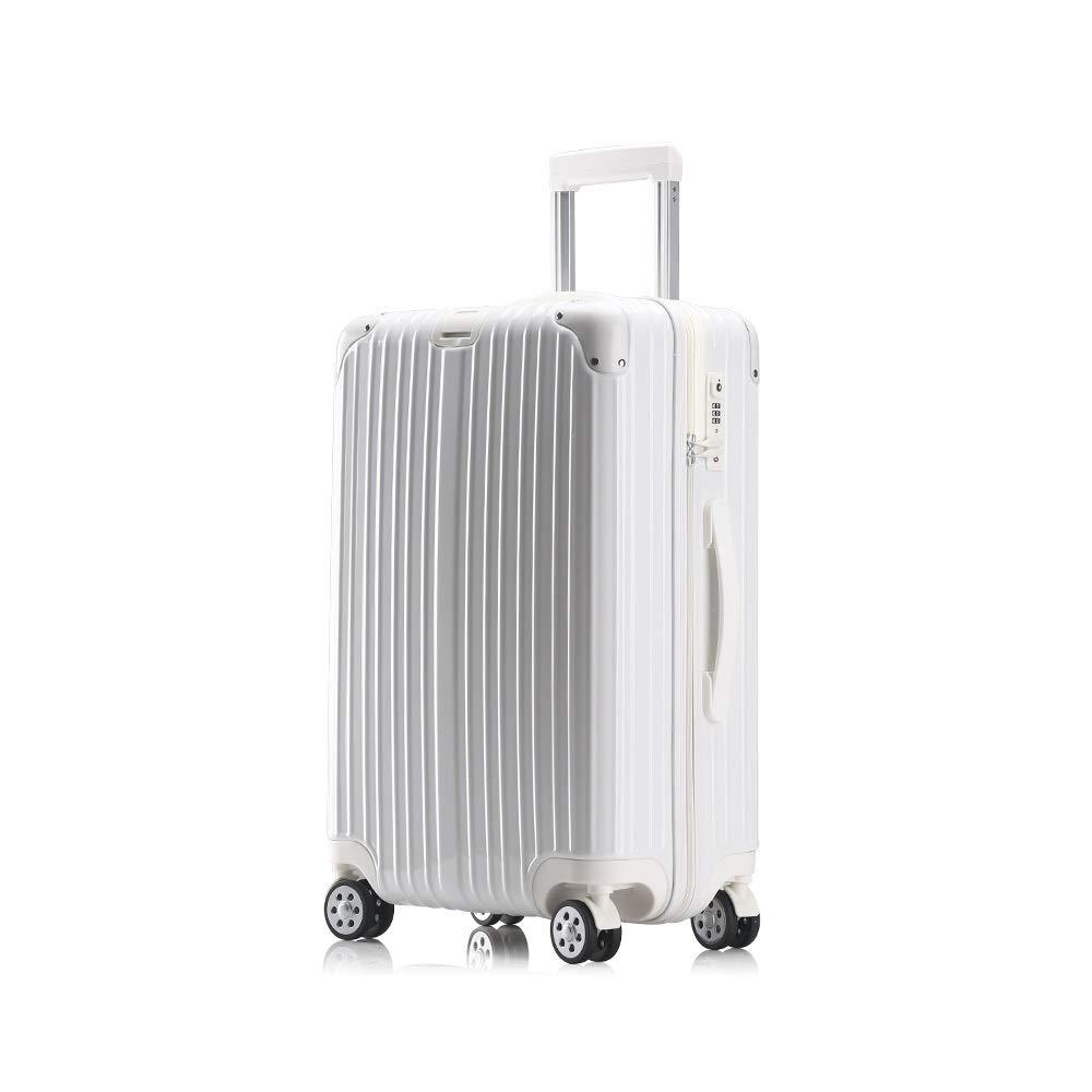GYZ 荷物のスーツケースユニバーサルユニバーサルホイール搭乗トロリーケースファッション、59センチ×38センチ×24センチ、ホワイト、ローズゴールド、チタン、シルバー 荷物箱 (Color : A, Size : 59cmX38cmX24cm) B07TC8DKQM A 59cmX38cmX24cm