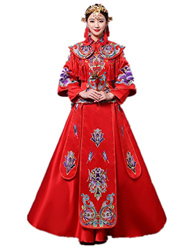 Stereo Embroideries High Density Embroideries Show Wo Dress Chinese Wedding Dress Traditional Bride Wedding Dress Wedding Cheongsam Tang Suits Full Dress by YY-Bride Wedding Cheongsam