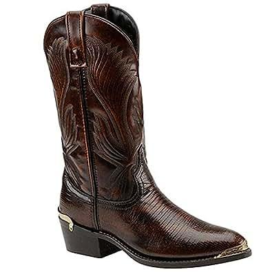 Laredo Men's Lizard Print Cowboy Boot Round Toe Cognac 7 D(M) US