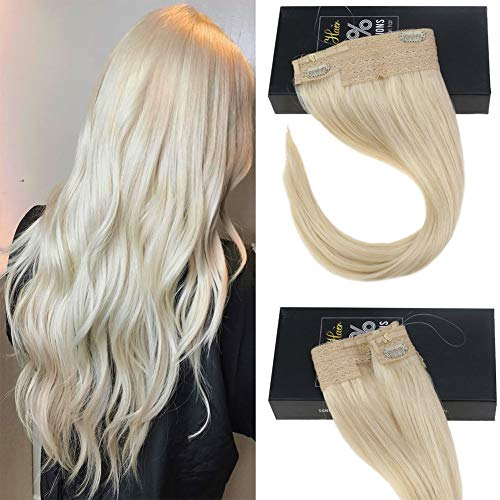 Sunny 14inch Hidden Halo Hair Extensions Blonde Color #60 Adjustable Wire Headbands for Women 11inch Width 80g/Pack