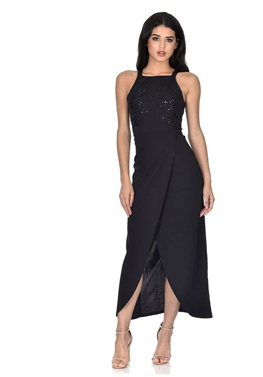 170bb22df5a AX Paris Women s Overlay Wrap Maxi Dress at Amazon Women s Clothing store