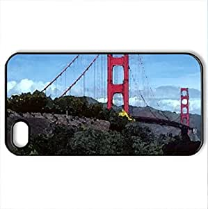 Golden Gate Bridge - Case Cover for iPhone 4 and 4s (Bridges Series, Watercolor style, Black) by icecream design