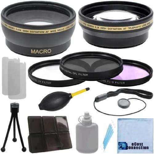 NEX-VG900 Full-Frame Interchangeable Lens Camcorder 67mm 0.43x Wide Angle Lens 3 Pieces Filter Sets with Deluxe Lens Accessories Kit for Sony NEX-VG30 2.0X Telephoto Lens