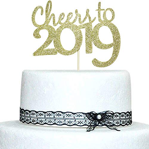 Cheers to 2019 Cake Topper - Hello 2019 - Merry Christmas - Happy New Year Party Decorations Gold Glitter