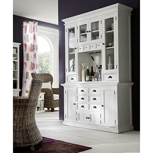 French Buffet Hutch (HALIFAX White Mahogany Hutch Buffet with Glass Door Cabinets in white distressed finish)