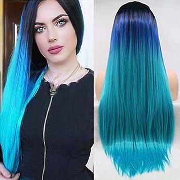 cabello azul celeste