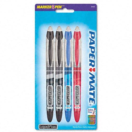 Paper Mate Liquid Flair Extra Fine Point Felt Porous Pens, 4 Colored Pens