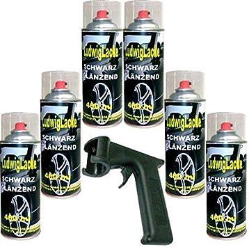 Lackspray Schwarz Glänzend Spraydose 6 X 400 Ml Plus Haltegriff Auto