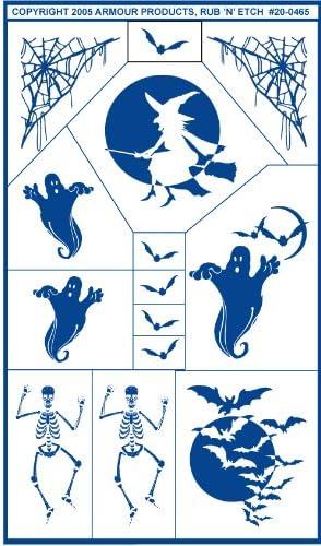 5-Inch by 8-Inch Armour Products Etch Rub N Etch Stencil Halloween 2