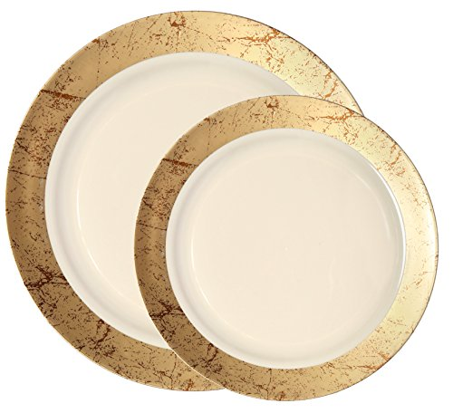 Party Joy 200-Piece Plastic Dinnerware Set | Marble Collection | (100) Dinner Plates & (100) Salad Plates | Heavy Duty Premium Plastic Plates for Wedding, Parties, Camping & More (Gold) (Marble Set Dinner)