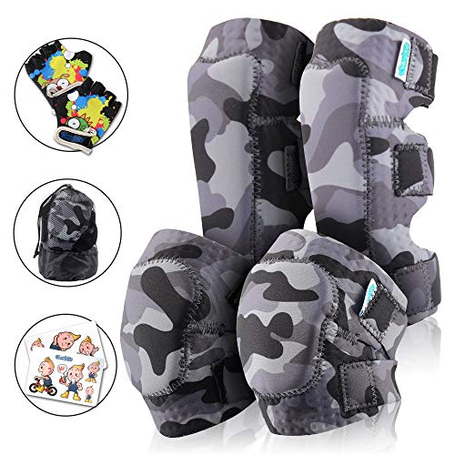 Innovative Soft Kids Knee and Elbow Pads with Bike Gloves | Toddler Protective Gear Set w/Mesh Bag& Sticker | Comfortable& Flexible | Roller-Skating, Skateboard, Bike Knee Pads for Children Boys - Gear Roller Skates Kids