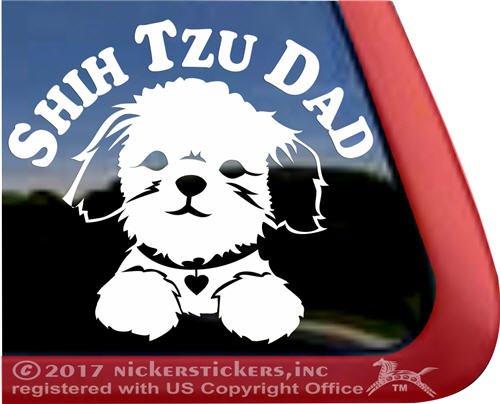 Shih Tzu Dad Puppy Face Decal Vinyl Dog Window Car Truck RV Laptop Decal Sticker ()