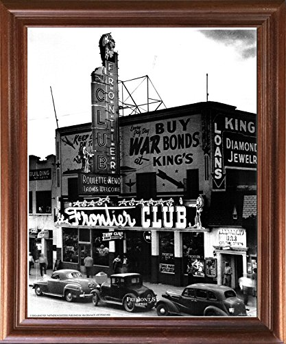 Impact Posters Gallery Vintage Las Vegas Fremont St. 1940 Ford Motor Car Old City Black And White Mahogany Framed Wall Decor Art Print Picture (18x22)