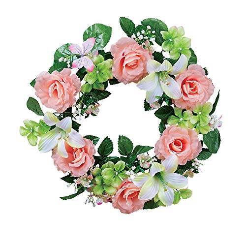 Collections Etc Pink Rose and White Lily Wreath with Butterfly - Spring Décor for Home or Outdoor Accent - Lily Rose Collection