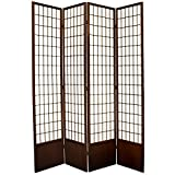 Oriental Furniture 7 ft. Tall Window Pane Shoji Screen - Walnut - 4 Panels