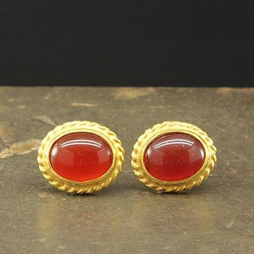 Natural Agate Carnelian Stud Earrings 925 Solid Sterling Silver 24K Yellow Gold Vermeil Roman Art Handcrafted Artisan Handmade Gemstone Earrings