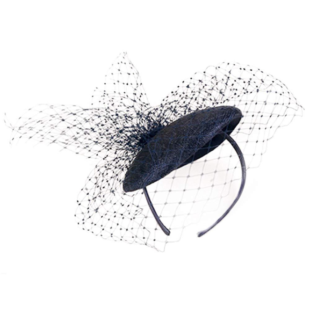 Sinamay Fascinator Hats Party Church Wedding Dress Hat Elegant Pillbox Cap Veil