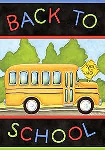 "Back to School Bus Autumn Garden Flag Fall Briarwood Lane 12.5"" x 18"""