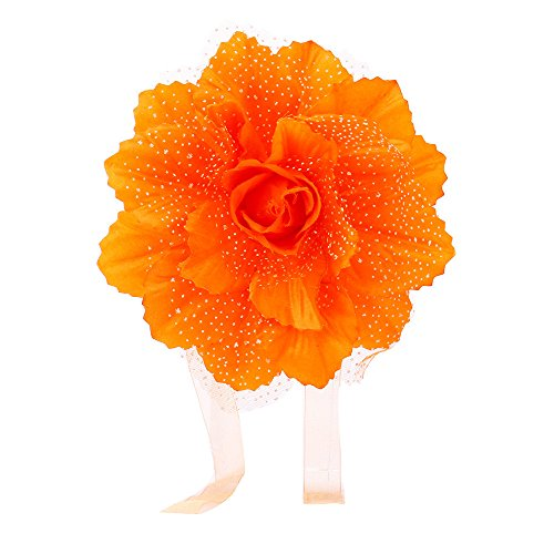 Hattfart Peony Flower Curtain Clips Buckle Bedroom Decorative Holdback Tieback Holders for String Drapers (Orange)