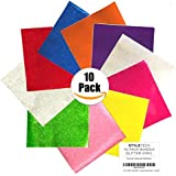 12x12 Glitter Vinyl Self Adhesive Vinyl Sheets | 10-Pack Bundle Craft Vinyl | Cricut Expression Explore, Silhouette Cameo, Signs, Crafts and Die Cutters by StyleTech (Premium Assortment, 10-pack)