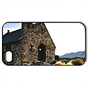 Chapel - Case Cover for iPhone 4 and 4s (Monuments Series, Watercolor style, Black)