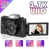 Digital Camera Vlogging Camera, Nycetek Video Camera for Vlogging and YouTube 30MP Ultra HD 2.7K 3.0 Inch 180 Degree Rotation Selfie Flash Light 16x Digital Zoom (Gathering/Travel/Selfie/Wedding)