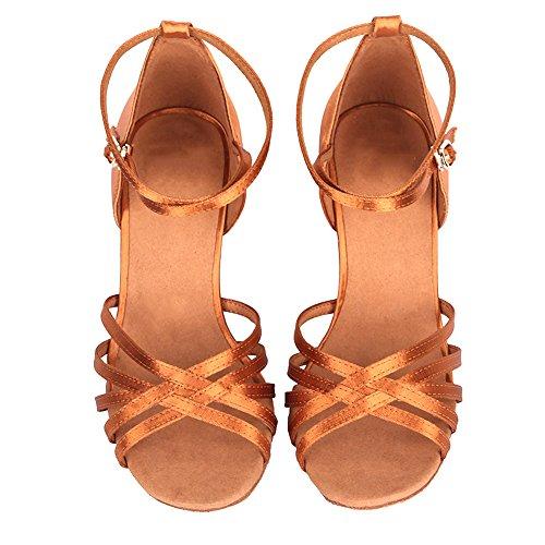 40102 Marrón de modelo estándar AF latinos SWDZM baile Mujer Zapatos Ballroom Satén qAvwOZ
