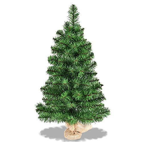 Goplus 3ft Tabletop Unlit Christmas Tree, Small Artificial Spruce Tree in Burlap Base, for Xmas Indoor Decor (3ft) (Trees Xmas Decorated)