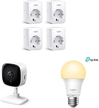 TP-Link Tapo P100, 4-pack - WiFi Enchufe Inteligente Mini tamaño + Bombilla Inteligente Wi-Fi + IP Cámara Vigilancia Wifi Interior: Amazon.es: Informática