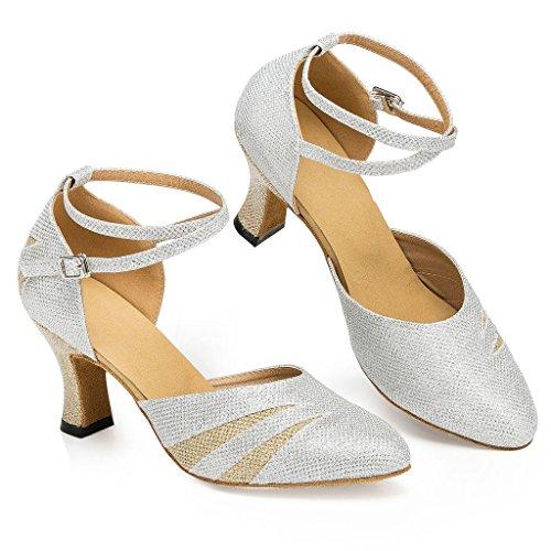 Misu Femmes Bout Fermé Semelle En Daim Latin Salsa Tango Pratique Chaussures De Danse De Salon Avec 2,7 Talon Argent