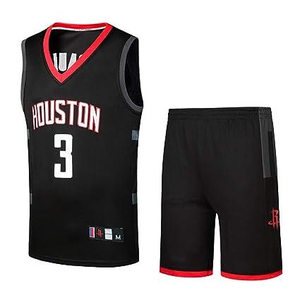 Basport NBA Rockets Paul No. 3 Jersey Traje de Ropa de Baloncesto Masculino,XXXL