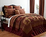 NINEPATCH STAR 9 PC Queen Patchwork Quilt Set with BONUS Star Fringed Pillow