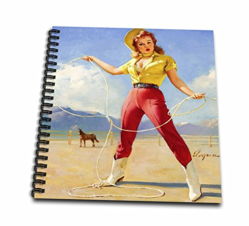 3dRose Print of Elvgren Pinup Roping Cowgirl Drawing Book, 12 x 12 ()