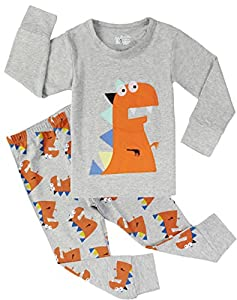 Dinosaur Pajamas Boys Cotton Sleepwear Pants Set Children 2 Piece Clothes Outfit
