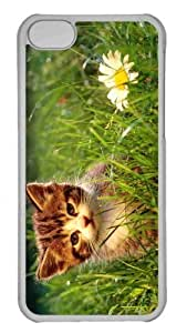 Customized iphone 5C PC Transparent Case - Cute Kitten Near A Flower Personalized Cover