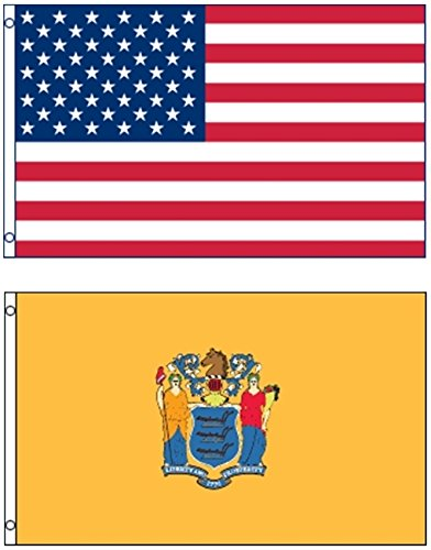 Mission Flags 3x5 ft. US American and New Jersey State Polye