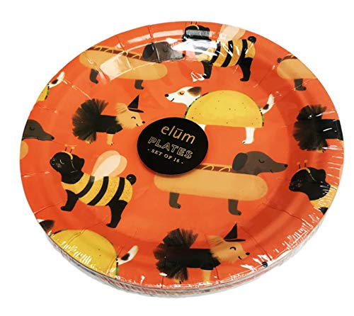 Halloween Dogs in Costumes Set of 16 Festive Orange Holiday Cocktail Appetizer Dessert Party Paper Plates