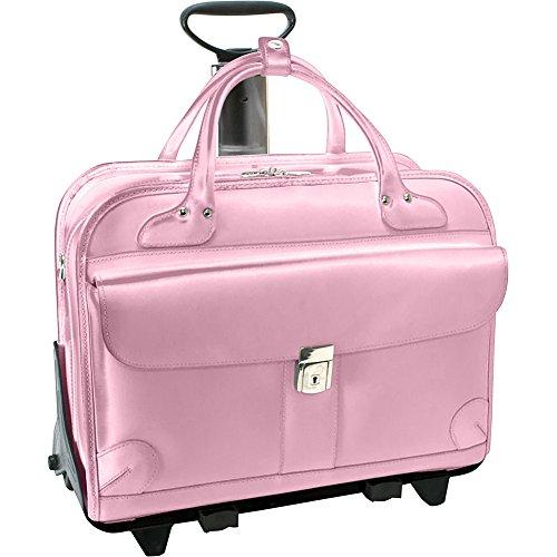 McKleinUSA LAKEWOOD 96619 Pink Leather Fly-Through Checkpoint-Friendly Detachable-Wheeled Ladies' Briefcase by McKleinUSA