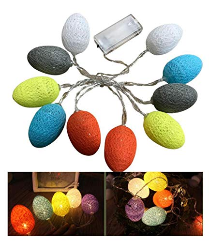 AISION 6ft LED Cotton Egg String Lights Battery Operated Fairy String Lights Easter Halloween Decorations with 10 Bulbs for Home Christmas Tree Upstairs Banister Party Decoration from AISION