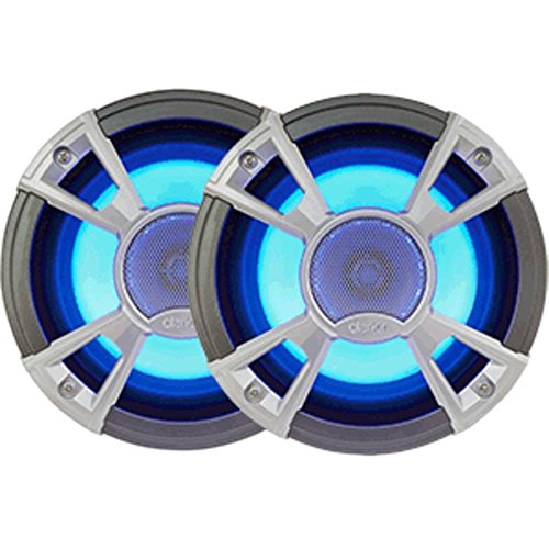 "Clarion Corporation of America CMQ1622RL Marine Coaxial Speaker with built-in Blue LED Light 6.5"" Silver"