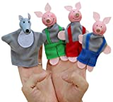 Happy Cherry Kids Cute Finger Plush Puppet Hand The Three Pigs and A wolf for Children Early Education Stories Telling Baby Doll