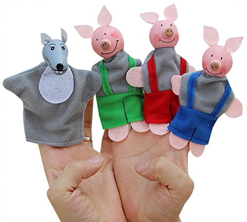 Happy Cherry Kids Cute Finger Plush Puppet Hand The Three Pigs and A wolf for Children Early Education Stories Telling Baby Doll by Happy Cherry