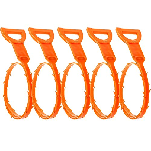 5 Pieces of Plastic Top Quality 52 CM Flexible Snake Drain Hair Unclogger Remover Cleaning Tool with Hook in Orange