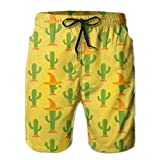 ZeTian H Cactus With Hat Mens Quick Dry Swim Trunks Beach Shorts