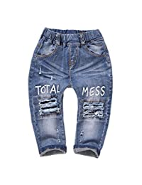 Kidscool Baby Girls Elastic Waist Ripped Holes Denim Pants Jeans