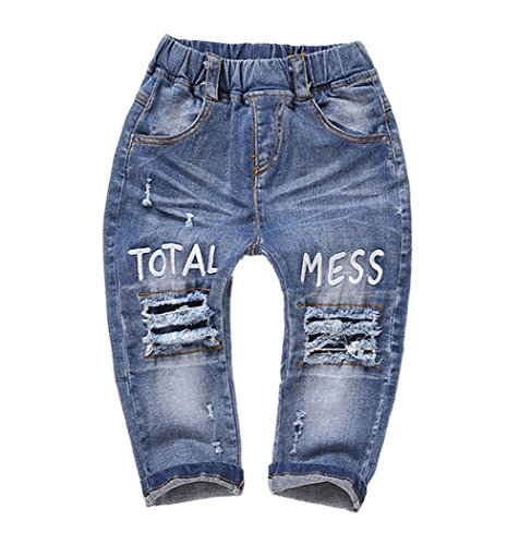 Kidscool Baby & Little Girls Elastic Waist Ripped Holes Denim Pants Jeans, 6-12 (Elastic Girls Jeans)