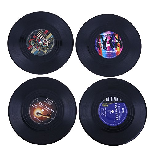 MISOSA 4-Piece Drink Coaster Set,New Arrival Vinyl Record Retro Coasters with Gift Box - Tabletop Protection