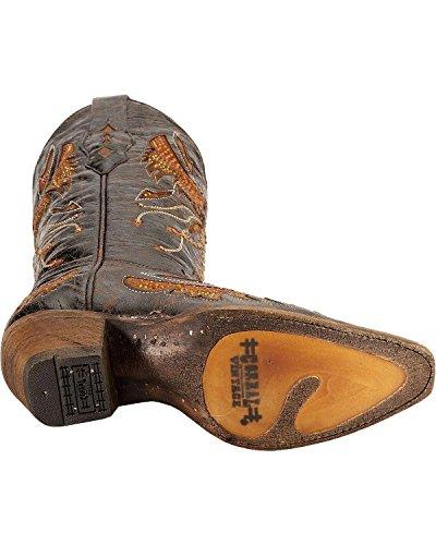 Corral Womens Angosciato Aquila Intarsio Arancione Strass Cowgirl Boot Snip Toe - Nero A2632